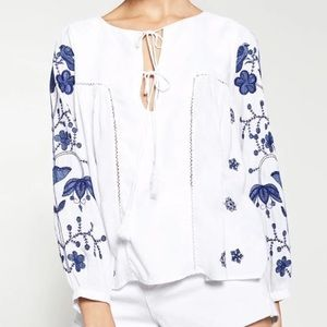 Zara Embroidered Top Size L